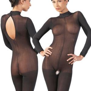 Sexy Catsuit Body S M L XL 2XL Schritt offen Spitze schwarz Dessous Reizwäsche