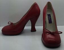 BACI Red Leather High Heel Pumps Pin-Up Girl 40's Style Bow Woman's 6M Italy!!!