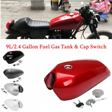 1pc 9L/2.4 Gallon Vintage Motorcycle Cafe Racer Seat Fuel Gas Tank  w/Cap Switch