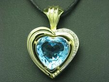 14kt 585 Yellow Gold Heart Pendant with Diamond & 13,00ct Topaz Trim / 11,3g