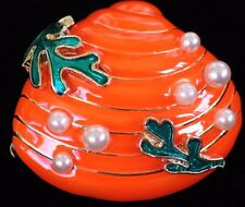GREEN ORANGE PEARL CORAL COCKLE CLAM SCALLOP SEASHELL SHELL PIN BROOCH JEWELRY
