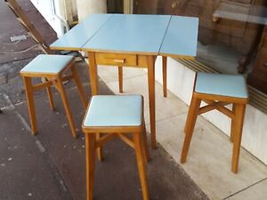 Vintage retro dining table and stools/dining suite/Benchairs maker for stools