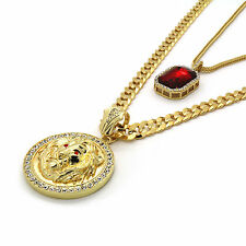 Men's 14k Gold Plated Cuban Chain Lion Face Red Eyes & Iced Red Cz Set