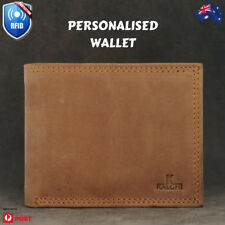 Personalised RFID safe Leather Wallet, Custom Monogram, Men's Wallet gift AU