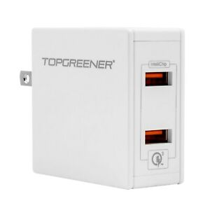 TOPGREENER 36W Quick Charge 3.0 Dual Port USB Wall Charger