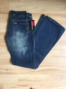 BNWT Vintage Mustang Womens Mid Blue Bumster Flair Jeans Waist 28in Length 33in
