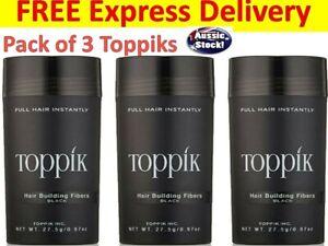 3X TOPPIK PACK HAIR LOSS BUILDING FIBERS 82.5G CONCEALS THINNING / BALD HAIR