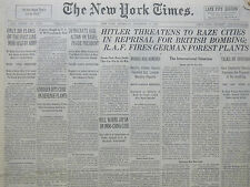 9-1940 WWII September 5 HITLER THREATENS TO RAZE CITIES IN REPRISAL FOR BRITISH