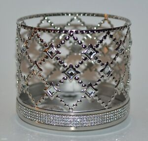BATH & BODY WORKS CHROME FLORAL GEMSTONE GEMS LARGE 3 WICK CANDLE HOLDER SLEEVE
