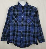 Wrangler Western Shirt Mens XL Long Sleeve Pearl Snap Flannel Blue Plaid Cotton