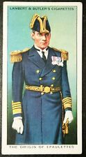 Royal Navy Uniform Epaulettes    Original Vintage Card  VGC