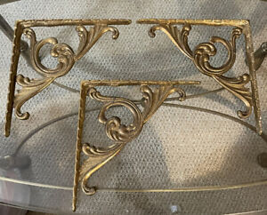 Vintage Rare 3 solid Brass Large Corbels Heavy Ornate Shelving Brackets 10.25""