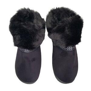 Isotoner Slipper Boots size 9.5-10 Large FAUX FUR & SUEDE Black Memory Foam