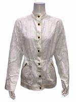 Isaac Mizrahi Floral Burnout Button Front Anorak Jacket White Large Size
