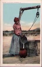 (tv1) Native American Postcard: Papago Woman, Filling the Olla