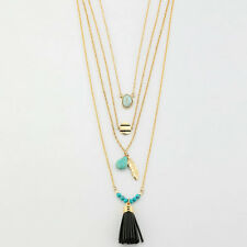Fashion Gold Plated turquoise Bead Feather Leather Tassels Pendant Necklace