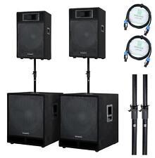 "DJ PA ANLAGE 10"" (25CM) LAUTSPRECHER BOX SET 15"" (30CM) SUBWOOFER SYSTEM 2800W"