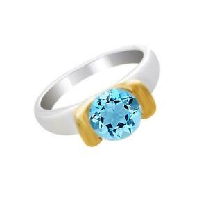 2Ct Round Aquamarine Birthstone Solitaire Engagement Ring 14k White Gold Over