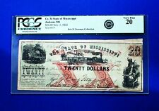 1862 $20 The State of Mississippi Civil War Note Cr.34  PCGS 20 CONFEDERATE RARE