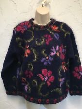 Icelandic Design Women's Mohair Pullover Sweater Blue Floral Size S Small