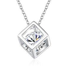 Halskette Würfel Anhänger Zirkonia Sterling Silber Strass Kristall Kette Damen