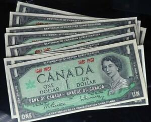 1967 $1 Bank of Canada Centennial Notes Set of 9 Crisp Uncirculated No Reserve