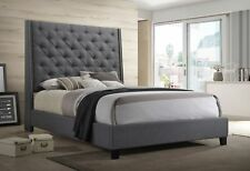 1pc King Size Buttons Tufted Fabric Headboard w/Nailheads Panel Bed Frame Gray