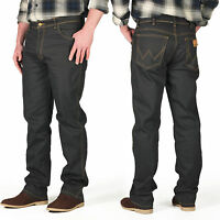 New Mens Wrangler Jeans Regular Straight Trousers Dark Grey Denim Designer Pants