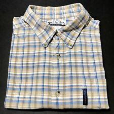 Columbia Mens XL Short Sleeve Button Front 100% Cotton Plaid Camp Shirt