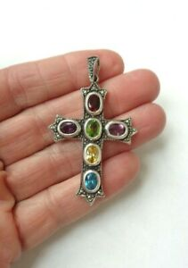 Vintage Sterling Silver 925 Marcasite Colorful Topaz Religious Cross Pendant