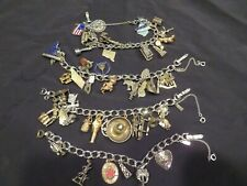 Vintage Sterling Silver Charms on 4 MONET Bracelets Mostly Sterling