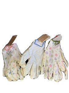 Ladies Canvas Gardening Gloves Lot Of 3 Fun Designs size large