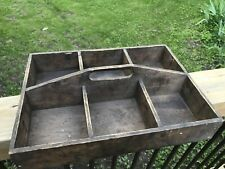Antique Primitive Wood Cutlery Box Utensil Knife Box Tray Country Home Farmhouse