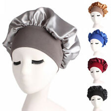 Silk Night Sleep Cap Hair Bonnet Hat Head Cover Satin Wide Band Adjust Accessory