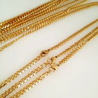 3.6/5mm Mens Boys 316L Stainless Steel 18K Gold Curb Cuban Chain Necklace