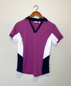 Lady Hagen Womens Golf Polo Top Pink White Blue Stretchy V-Neck Wicking Sz S