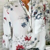 Lady Chiffon Printed Shirts V-neck Long Sleeve Floral Blouse Tops Summer Fashion