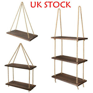 Wooden Hanging Rope Shelf Wall Mounted Floating Shelf Storage Rustic Home Unit
