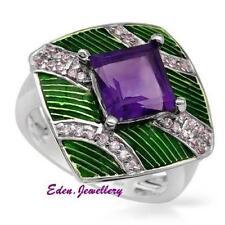 US$540 Stunning Ring GENUINE Amethyst Pink Cubic Zirconia 925 Sterling Silver
