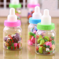 A Bottle of Pencil Rubber Erasers (Fruit Shapes) for Kids Stationery with Bottle