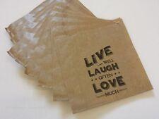 Live Laugh Love Kraft Paper Gift Bags x 10 - Party Wedding Favour Treat Favour