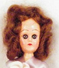 Vintage Hard Plastic Doll Lavender & Pink Dress Brown Hair Blue Eyes Retro