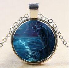Vintage dragon Cabochon Tibetan silver Glass Chain Pendant Necklace #117