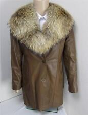 Brown Genuine Soft Leather Fox Fur Detachable Collar Womans Coat Jacket Sz M