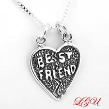 """STERLING SILVER BEST FRIEND HEART CHARM WITH 16"""" BOX CHAIN NECKLACE"""