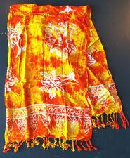 """Tie Die Scarf-56 x 20""""-Orange Yellow-Spring Summer Wear-Cotton-Vacation Shawl"""