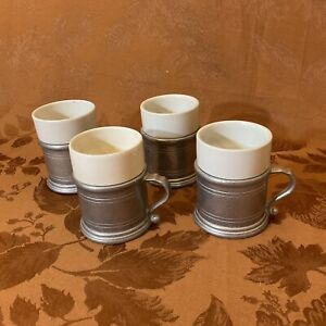 Vintage Wilton Pewter Mugs With Ceramic Liners Set Of 4