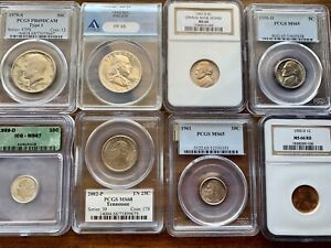 Lot of 8 Certified Coins NGC PCGS MS65, MS67 Half Dollars, Wheat Penny, etc.
