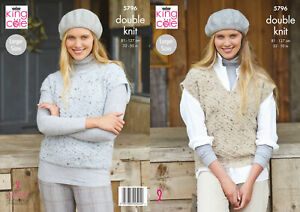 King Cole Ladies Double Knit DK Knitting Pattern Round or V Neck Tank Top 5796