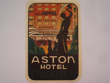 etiquette hotel luggage label ASTON HOTEL Stockholm